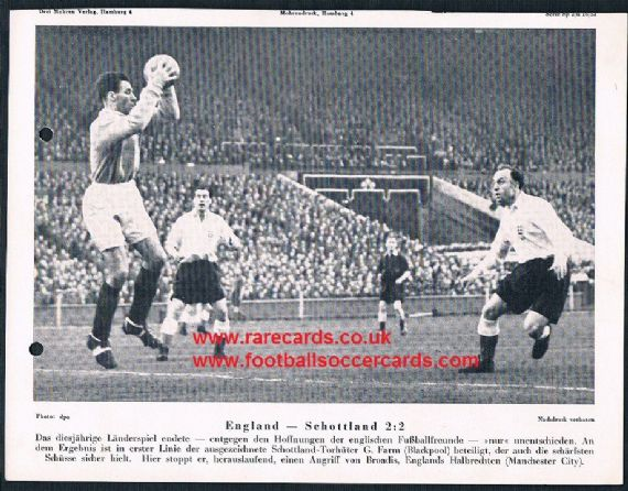 1953 George Farm Blackpool Scotland Ivor Broadis Man City England Mohrendruck